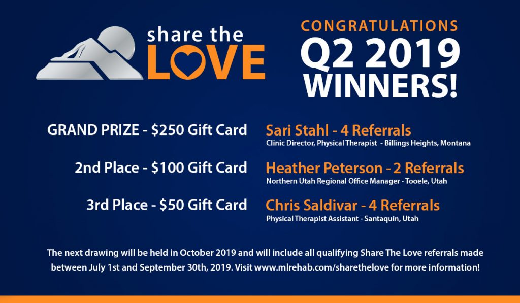 Q2 2019 Share The Love Winners! | Mountain Land Physical Therapy